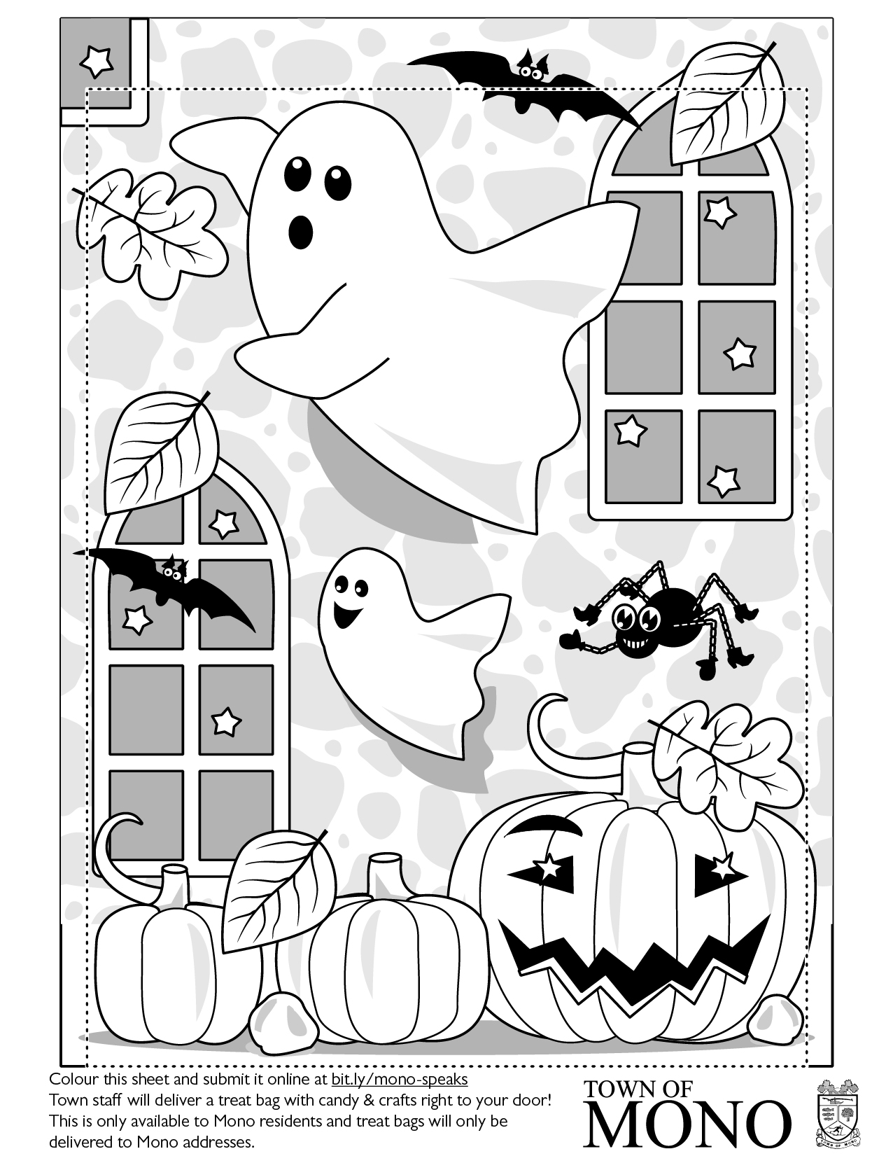 Colouring Sheet: Ghosts, bats, spider, pumpkins, windows
