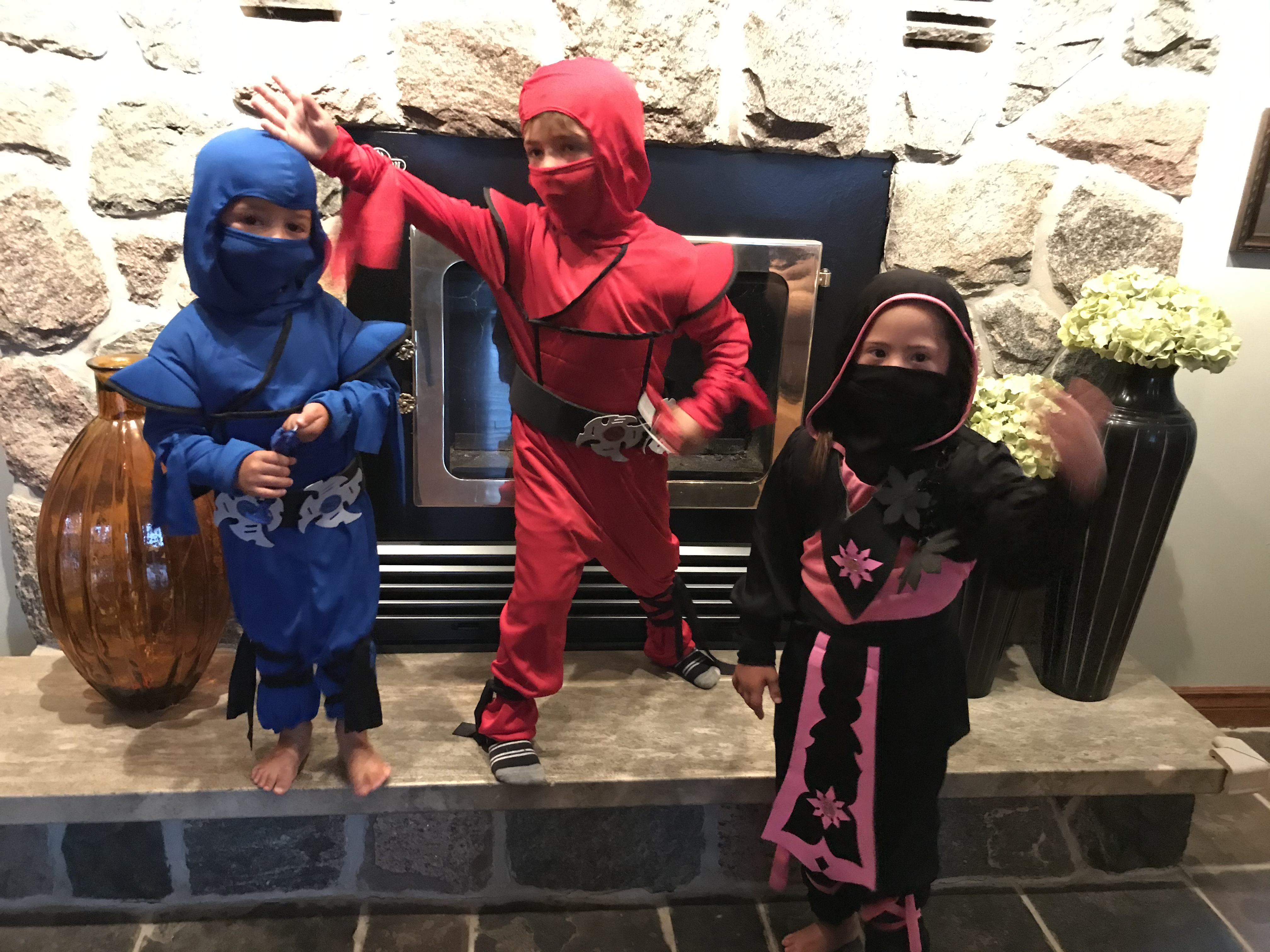 Children in Halloween costumes: ninjas in blue, red, and black outfits