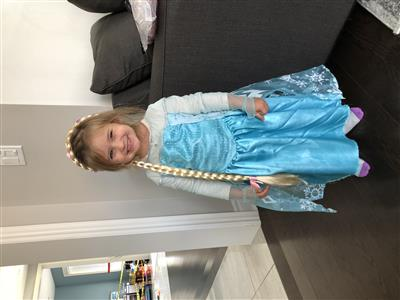 Child in Halloween costume: Elsa from the film Frozen