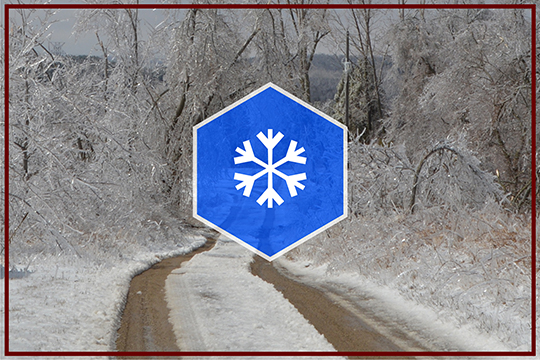 Icy road with snowflake overlay