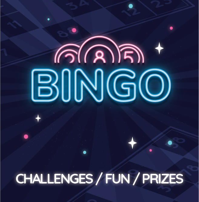 Bingo graphic with Challenges / Fun / Prizes