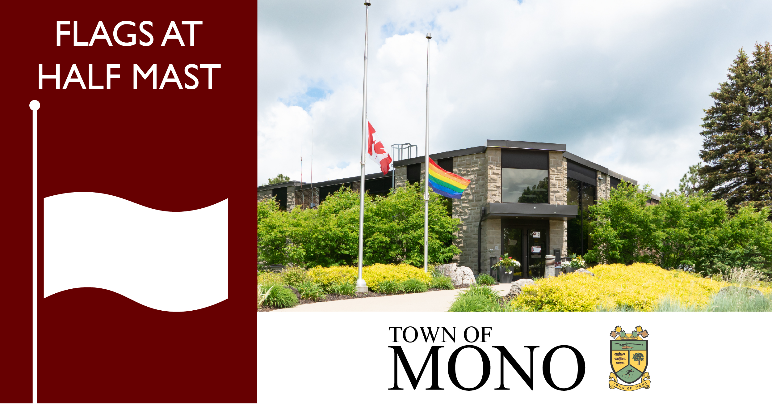 Mono Town Hall with pride flag and flag of Canada at half mast.