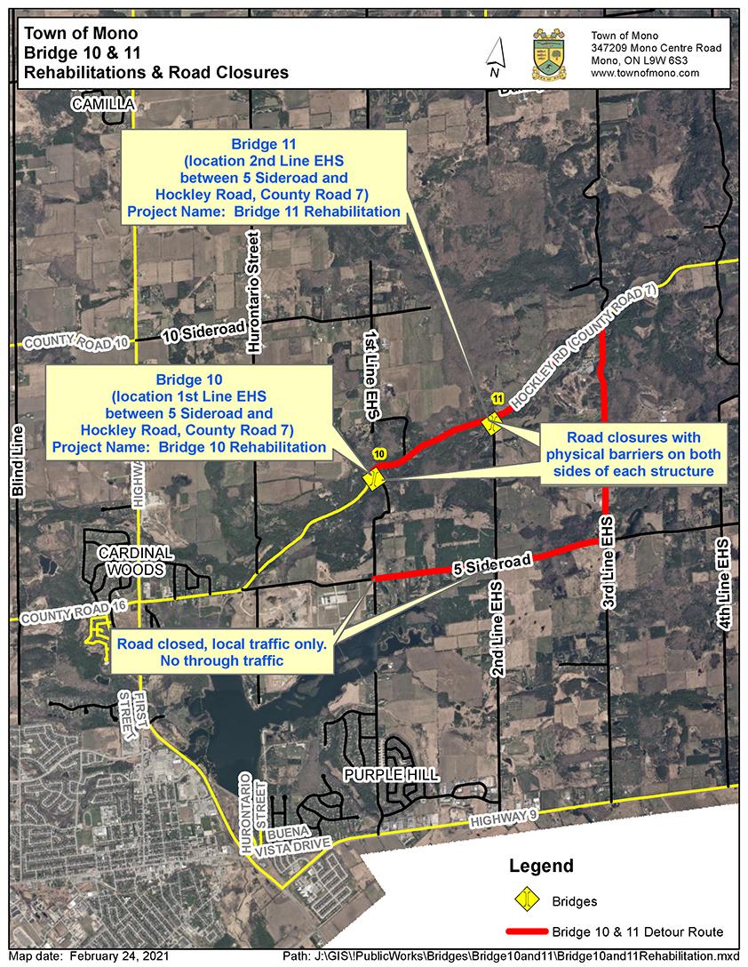 Map of the Bridge 10 & 11 Rehabilitation Location and Associated Road Closures