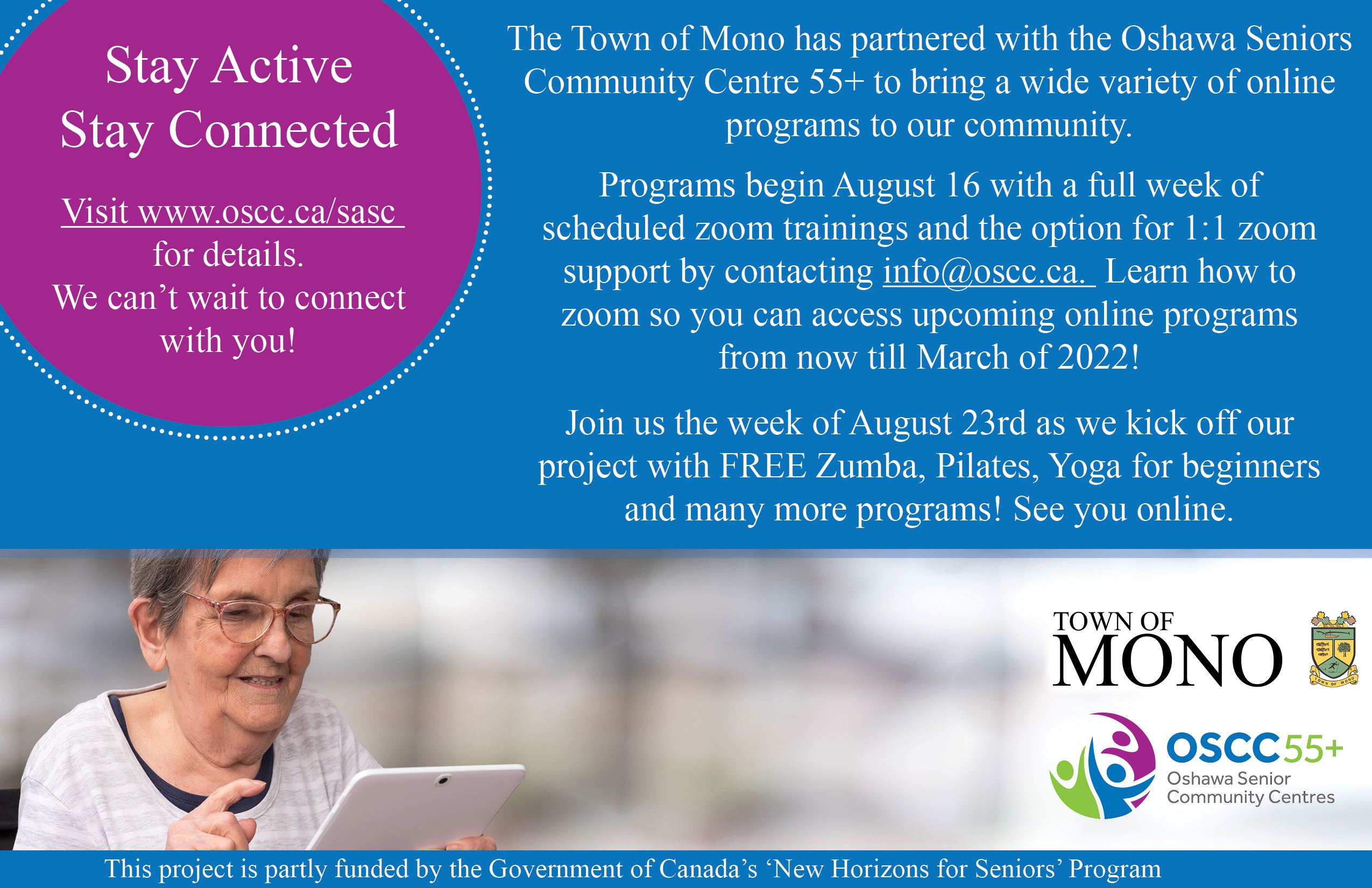 Oshawa Senior Community Centre and Town of Mono online senior summer program promotional image. Contains text reproduced in post.