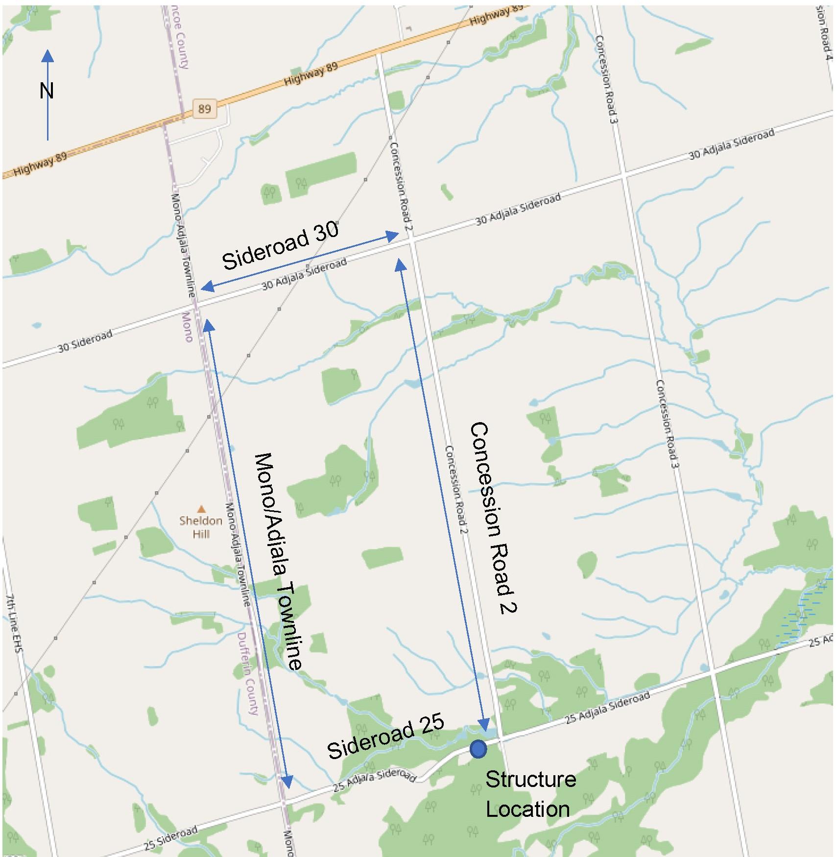 Detour Map of Adjala 25 Sideroad