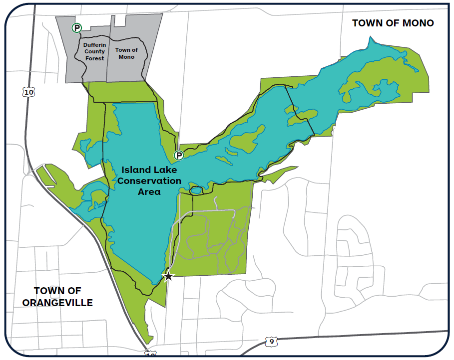 Map of the Island Lake Conservation Area