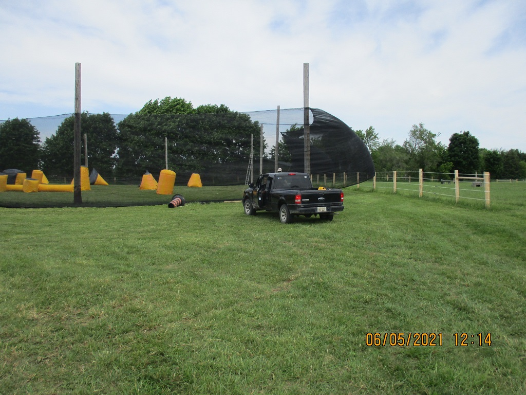 Truck at back of a paintball speedball field