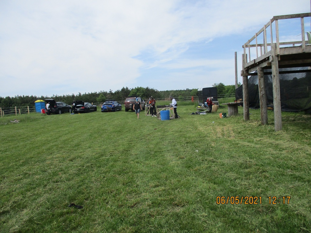Parking with portable toilet near a paintball speed ball field
