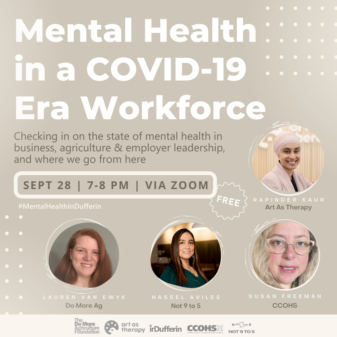 Poster advertising Mental Health in a COVID-19 Era Workforce event details