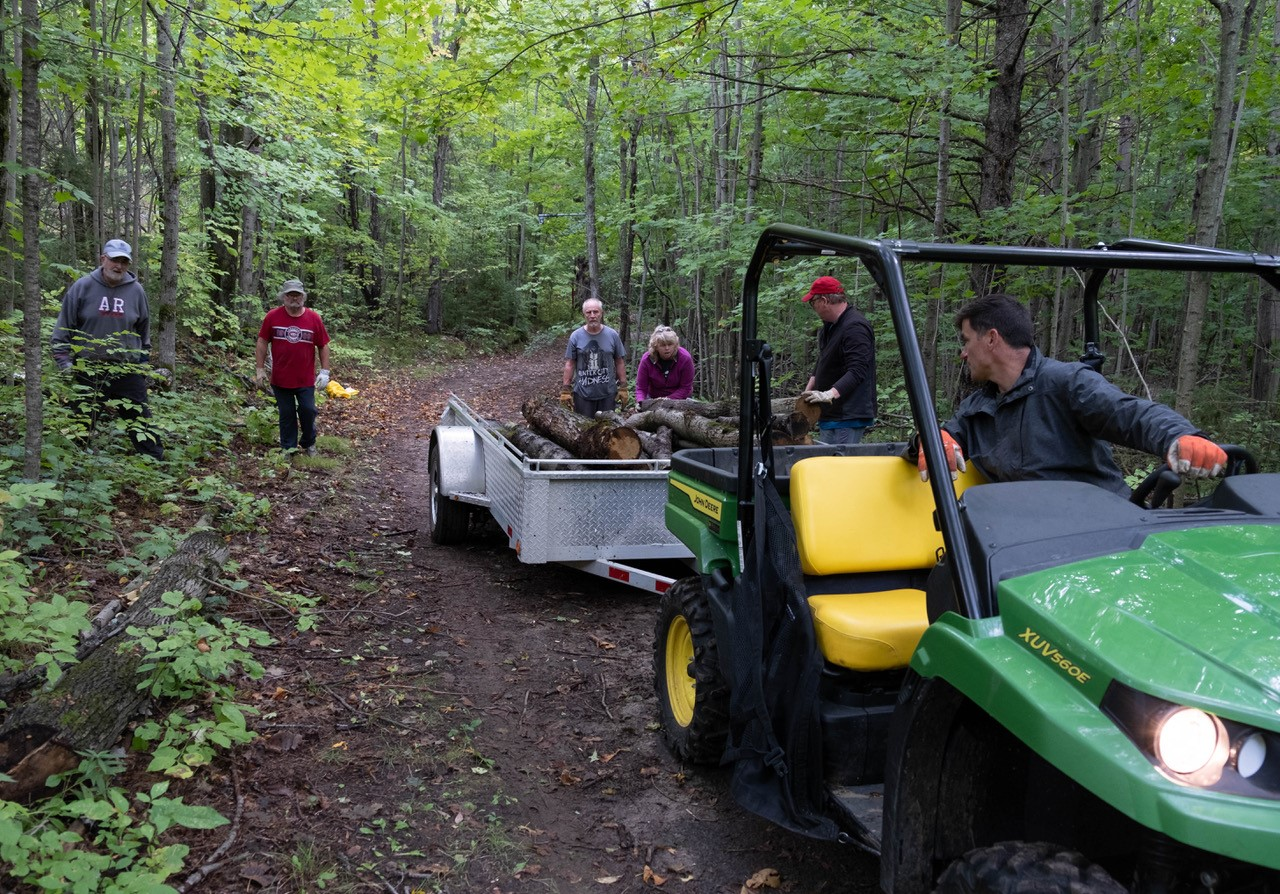 Volunteers loading up fallen ash trees into a trailer