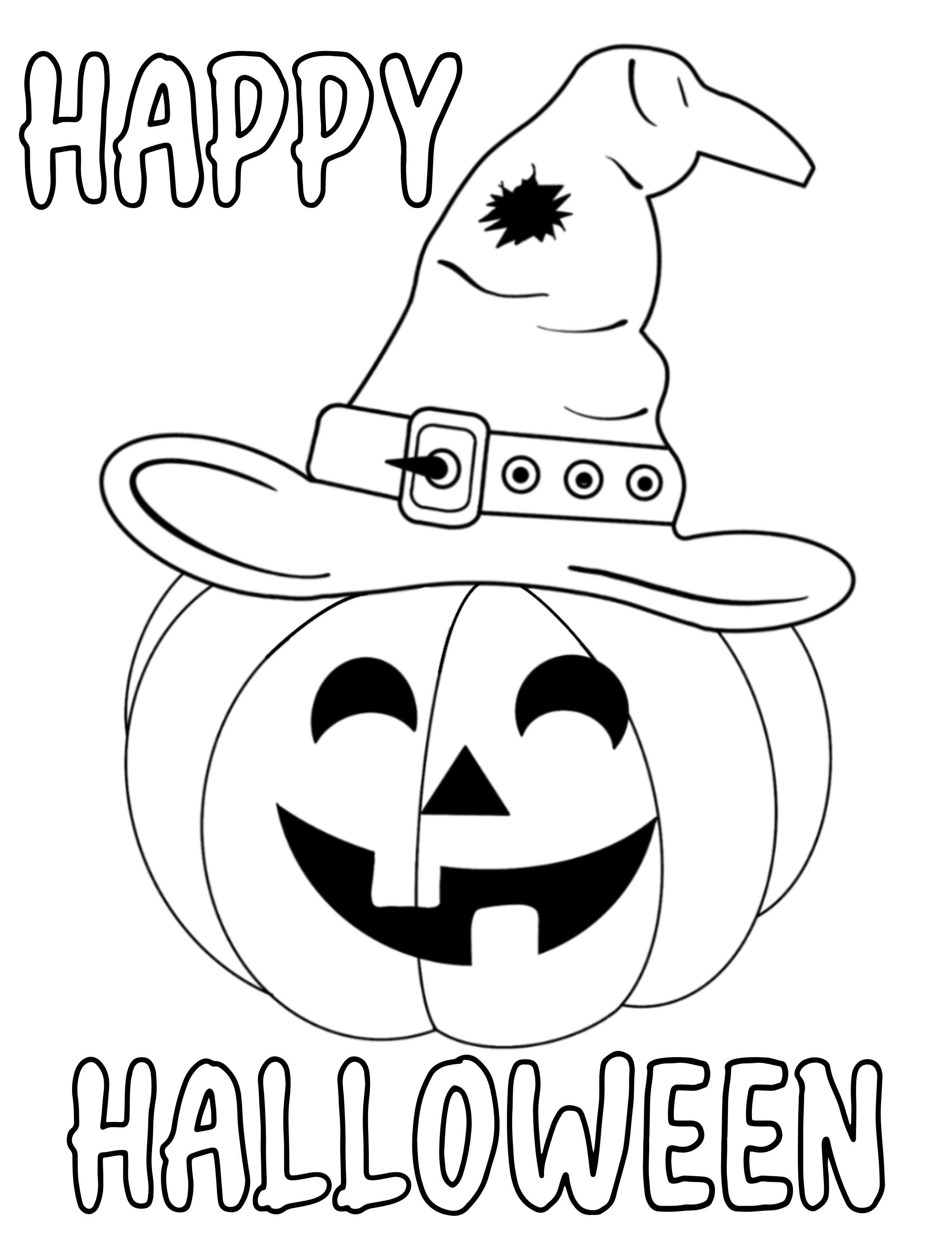 Halloween Colouring Sheet with a pumpkin in a witch's hat