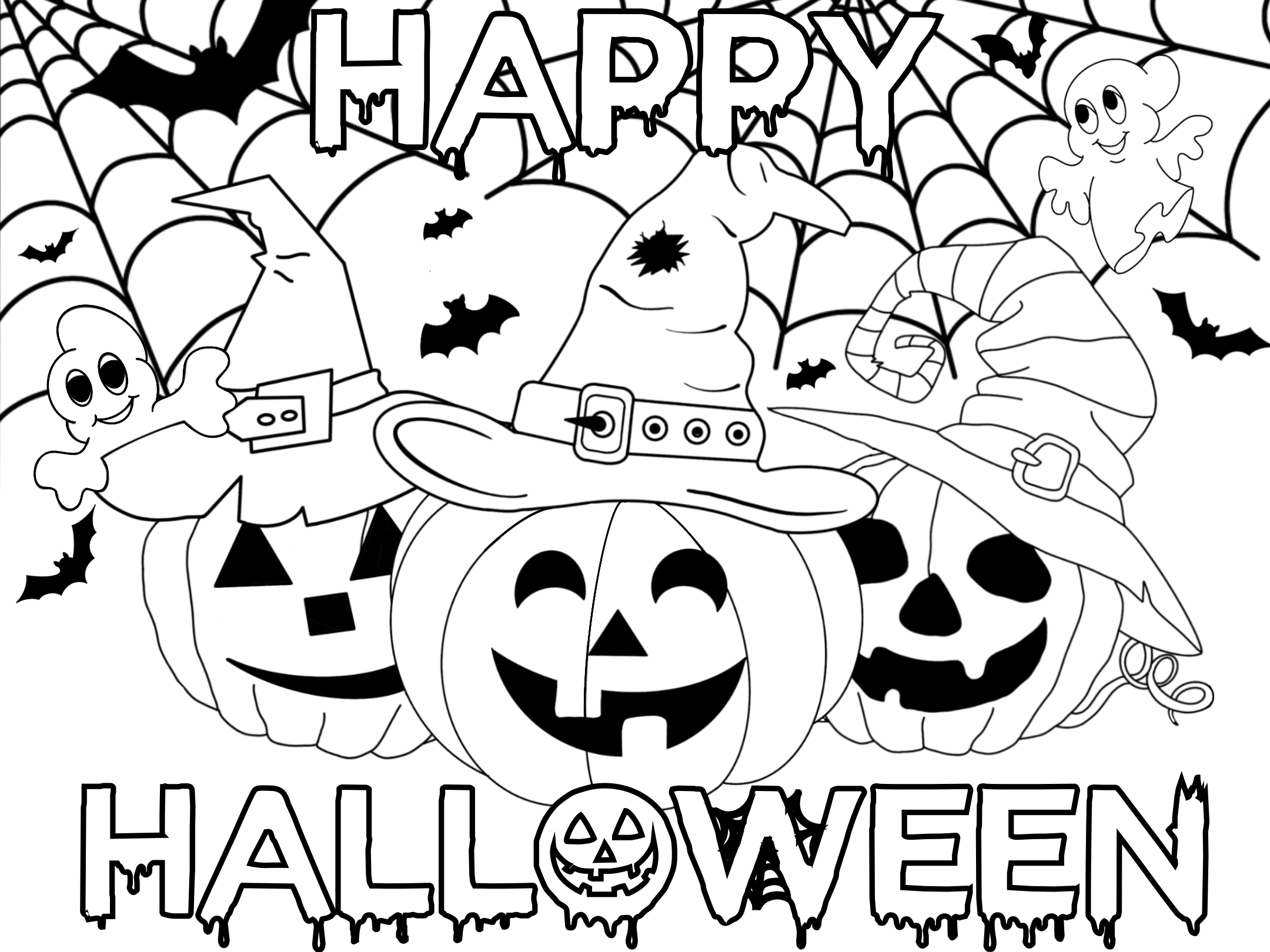 Second Colouring Sheet with pumpkins in witch's hats, spider webs, and bat