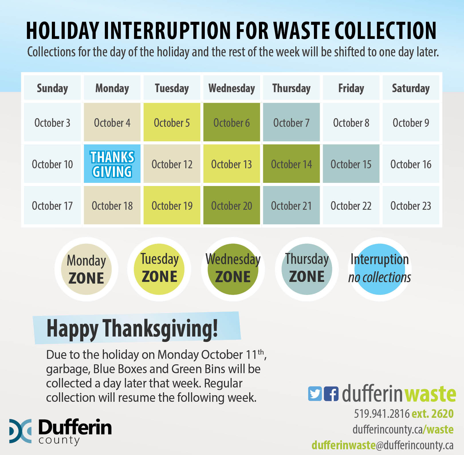Holiday interruption for waste collection schedule showing waste collected a day later for Thanksgiving.