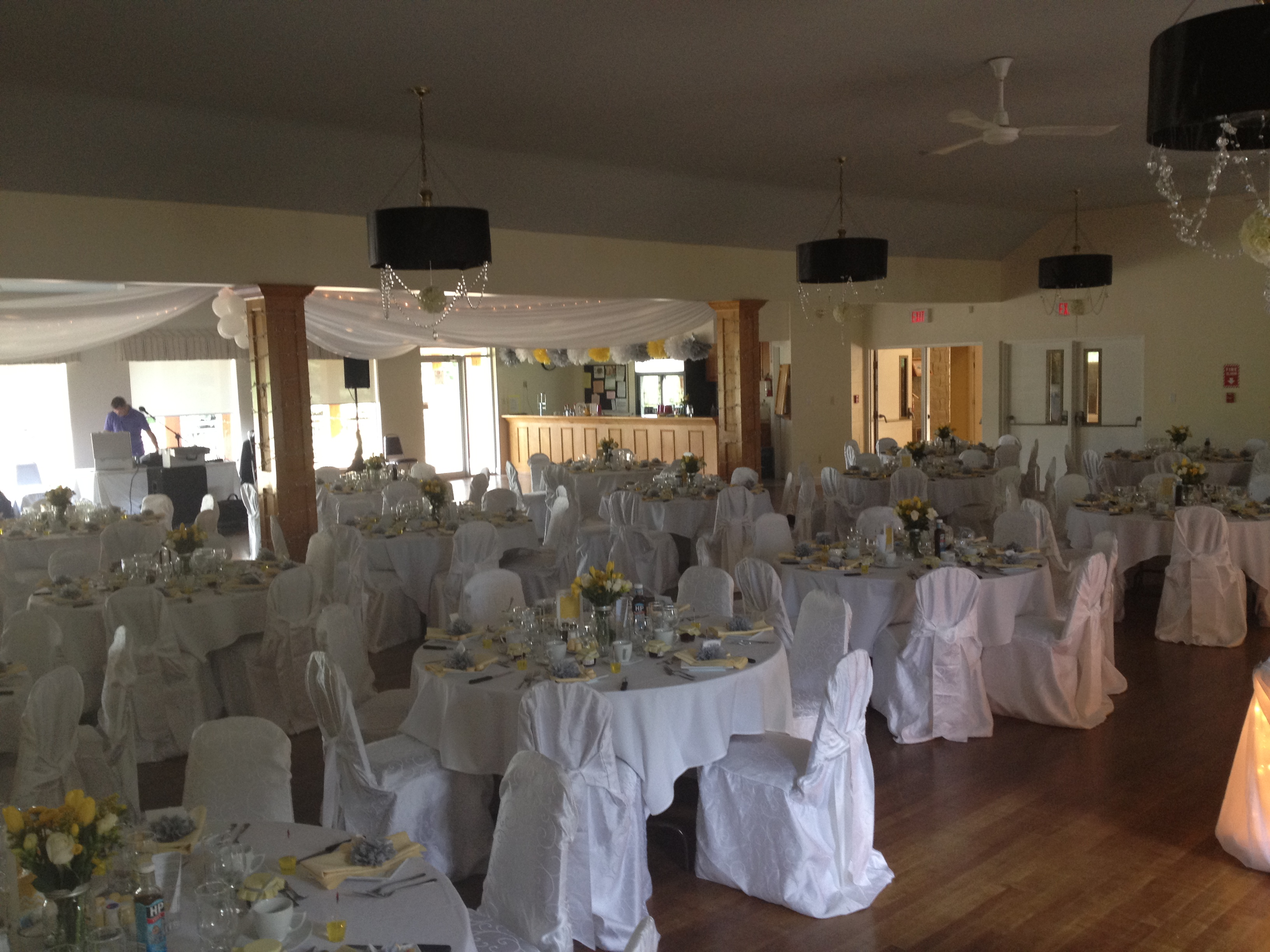 Banquet Room with tables and chairs set up