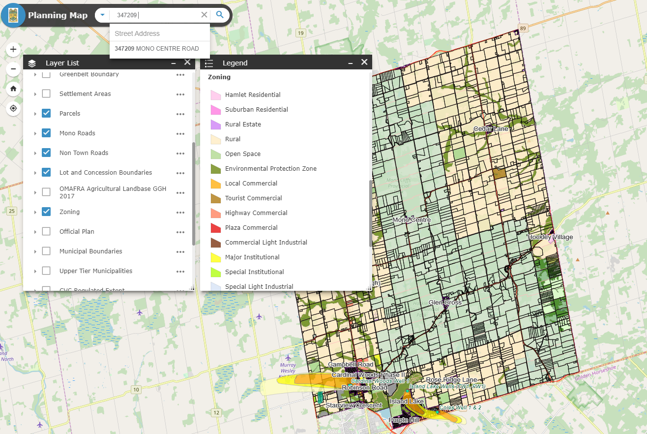 Screen shot of the Planning Map with the Zoning layer and legend showing