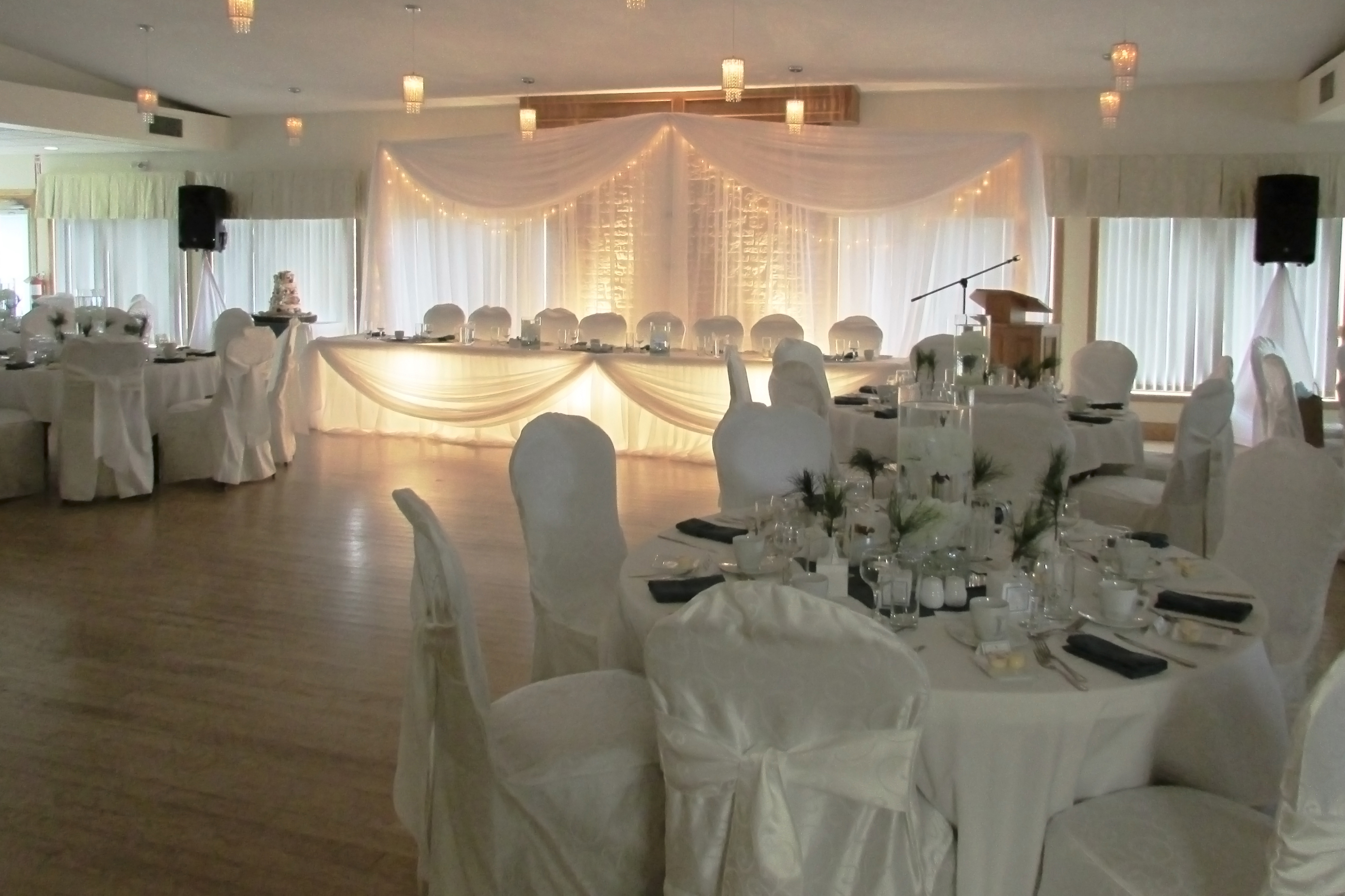 Monora Park Pavilion Banquet Room set up for wedding