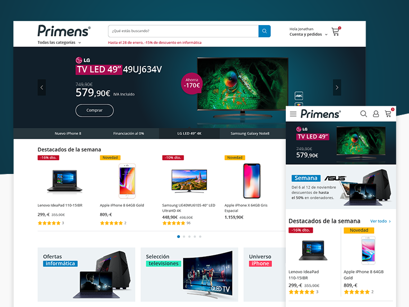 Capture of the Primens project in Dribbble