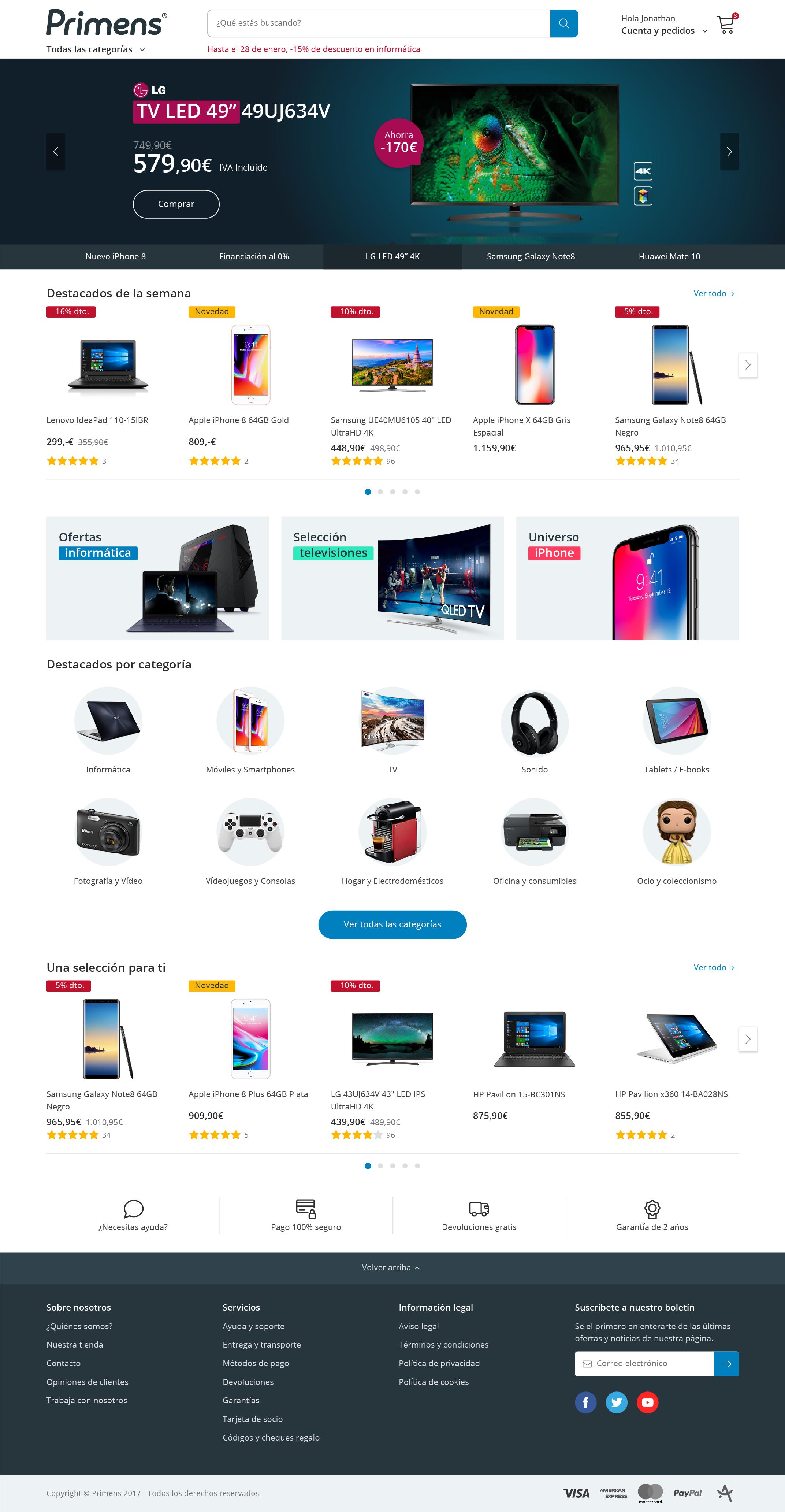 Primens home page design
