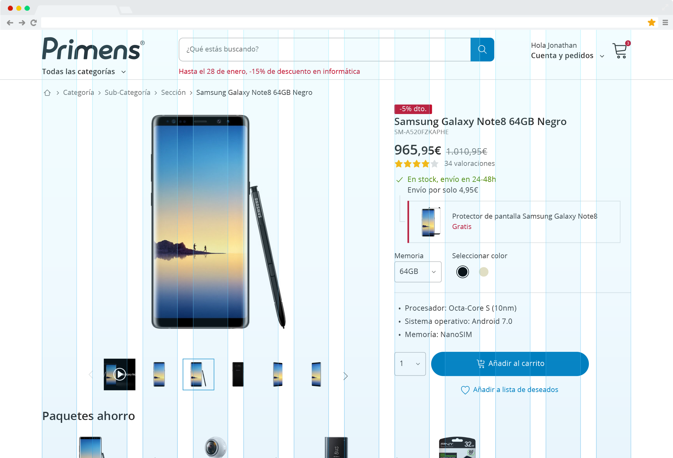 Construction of the Primens product page