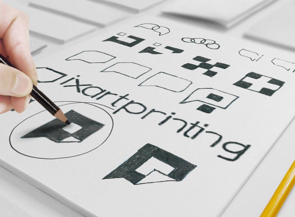 Bocetos de las primeras propuestas de logo de Pixartprinting