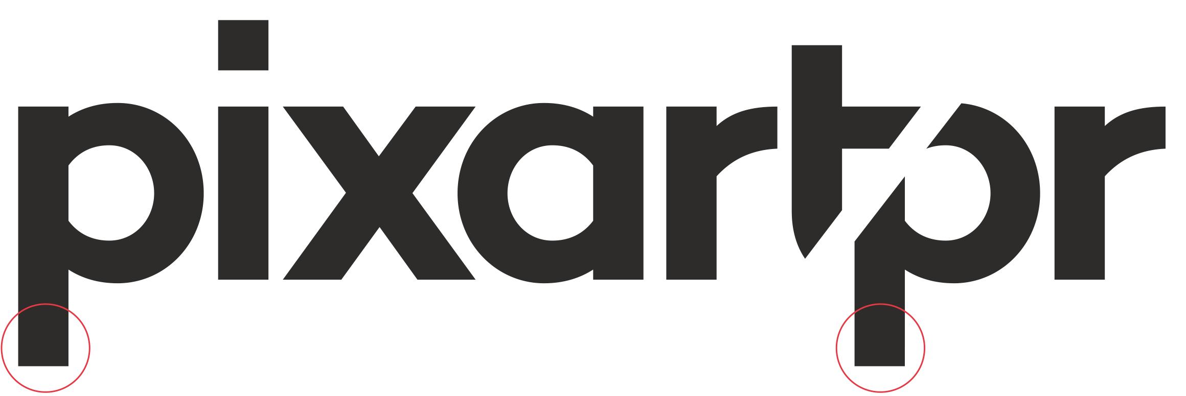 Wordmark de Pixartprinting con los cambios en las descendientes