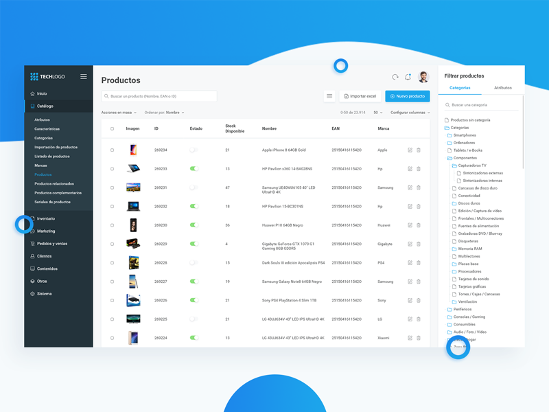 Capture of  the products e-Commerce dashboard in Dribbble