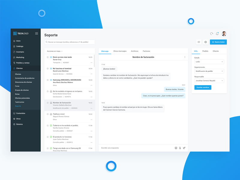 Capture of  the customer support e-Commerce dashboard in Dribbble