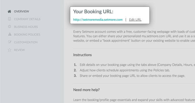 Screenshot Setmore Booking URL