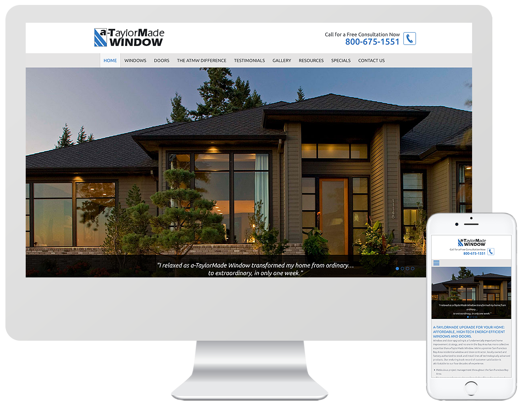 Website home page design for A-TaylorMade Window