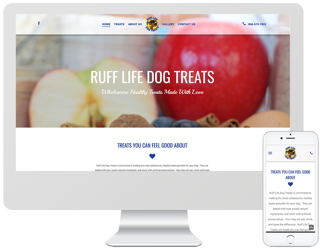 Website home page design for Ruff Life Dog Treats
