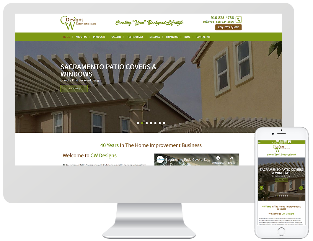 Website home page design for CW Designs