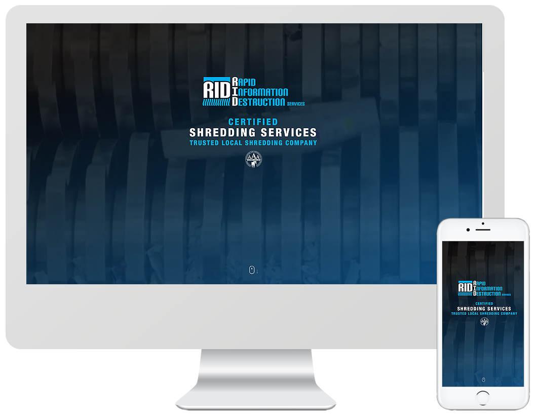 Website home page design for Rapid Information Destructions Services