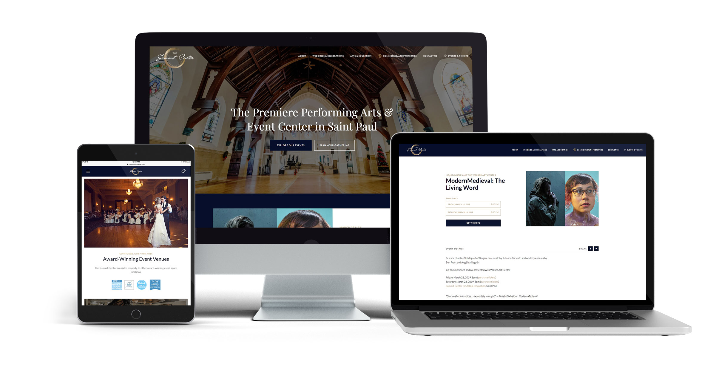 The Summit Center website on different devices