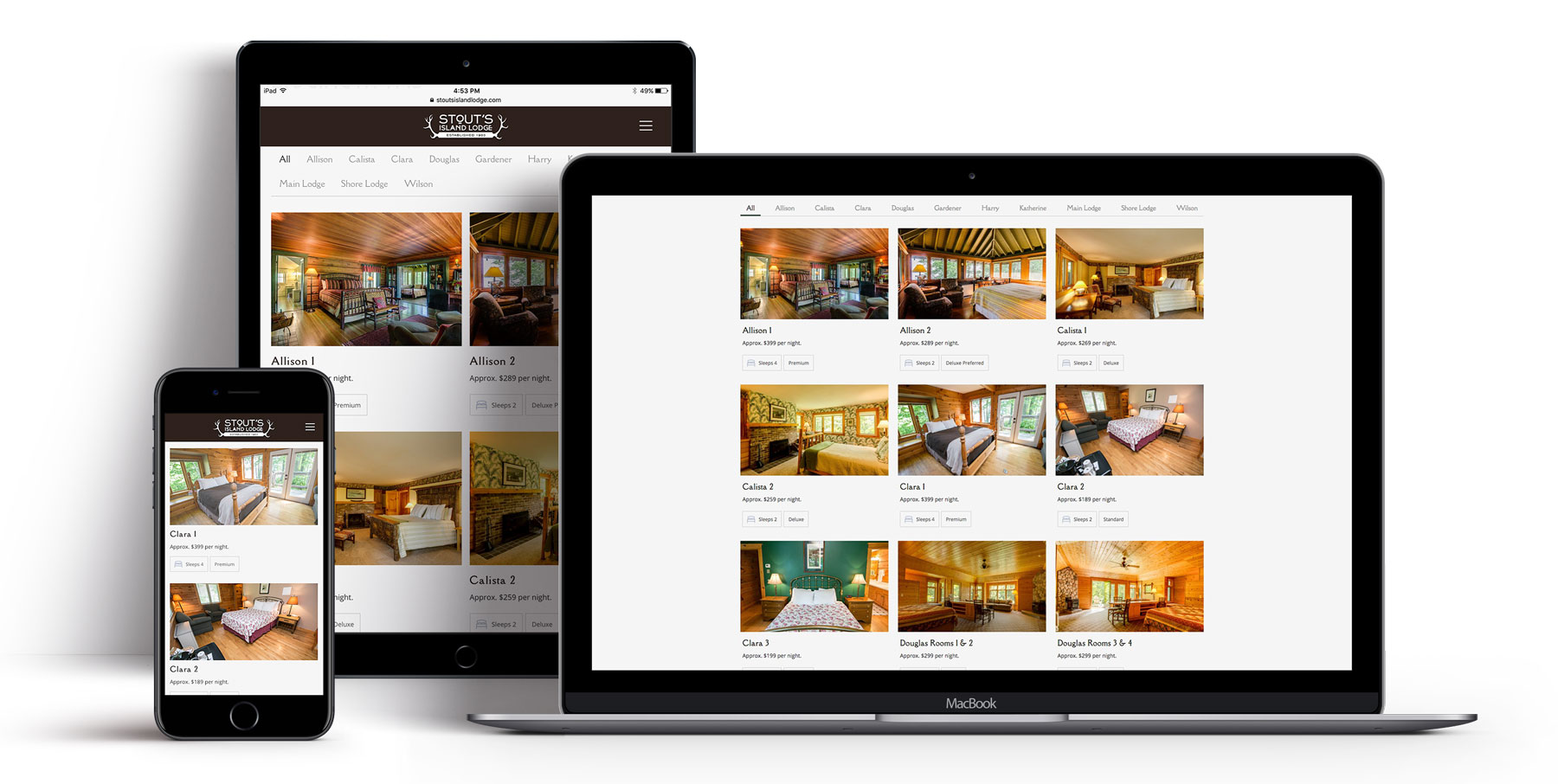 Stout's Island Lodge website on multiple devices