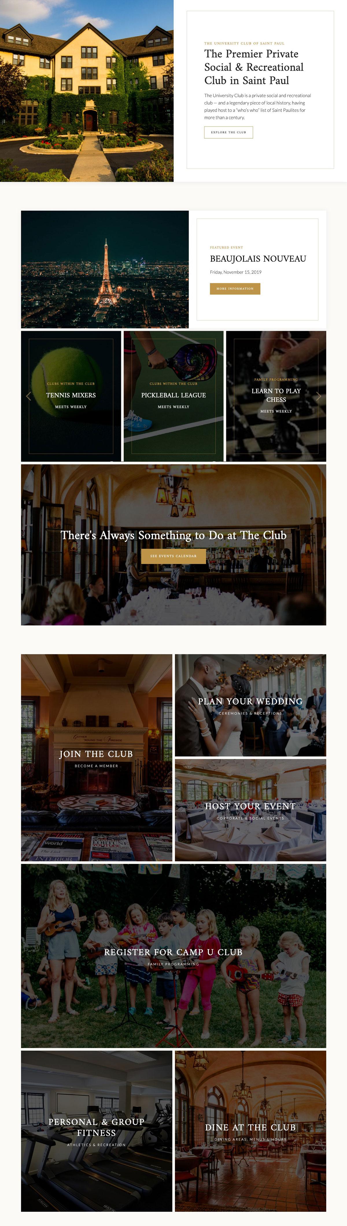 University Club homepage