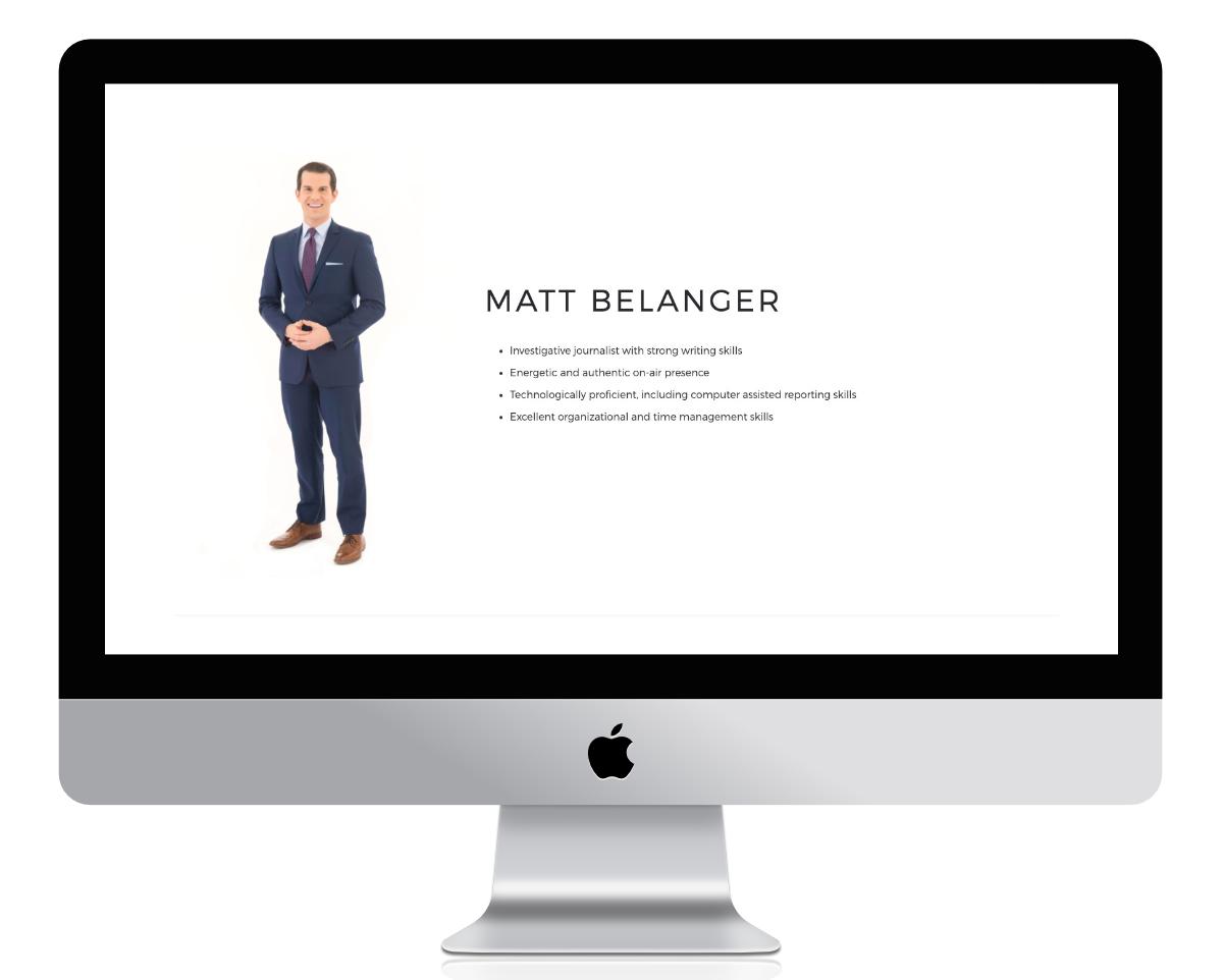 Matt Belanger's bio about page