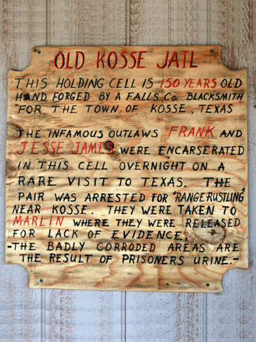 historical sign on the western town jail