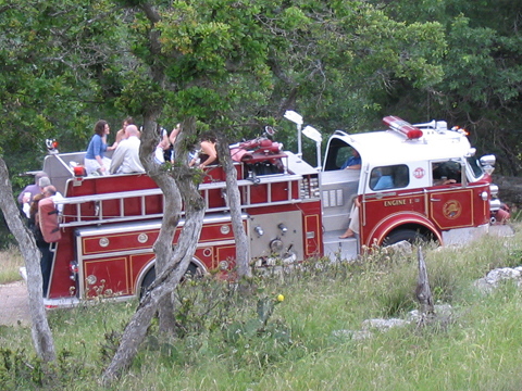 wedding party on a fire truck