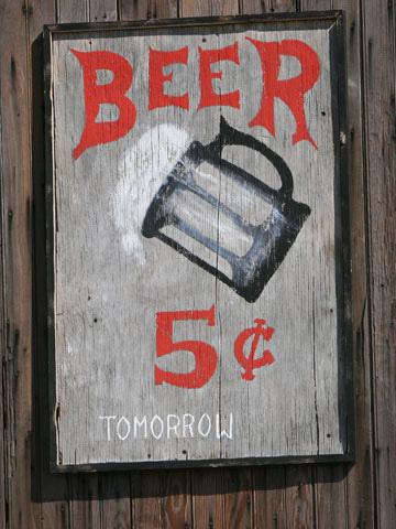 sign that says beer 5 cents tomorrow