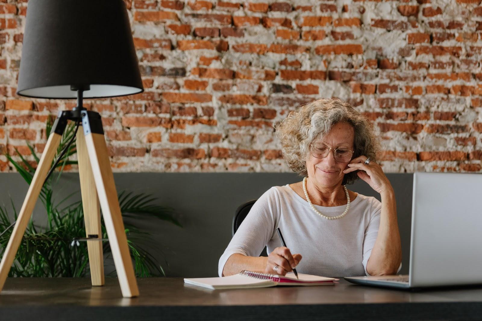 elderly woman on computer