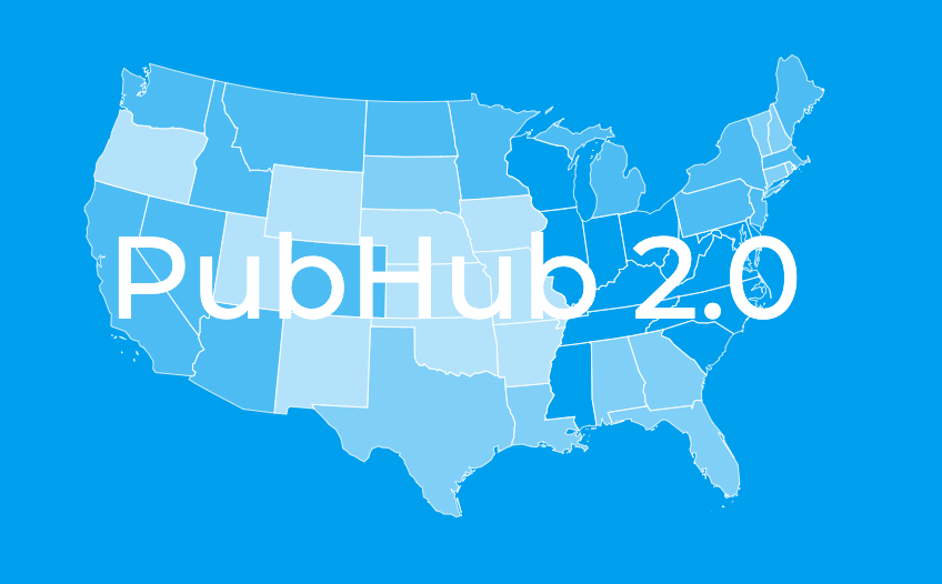 blue map of the united states with the words pubhub 2.0 written on it