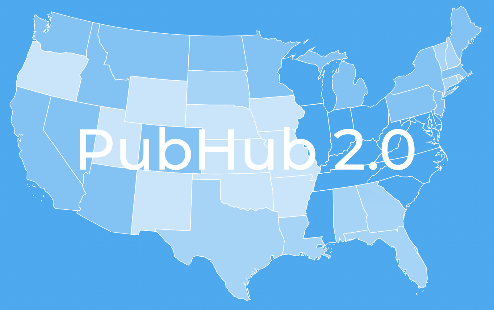 blue map of the united states with the words pub hub 2.0