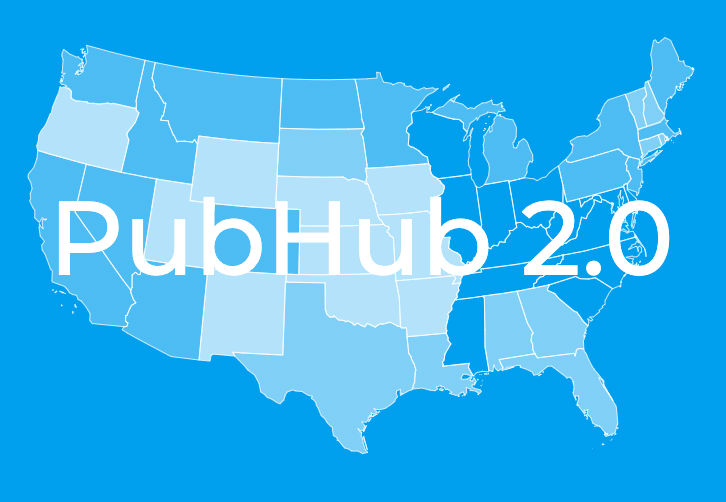 blue map of the united states with the pubhub 2.0 written across
