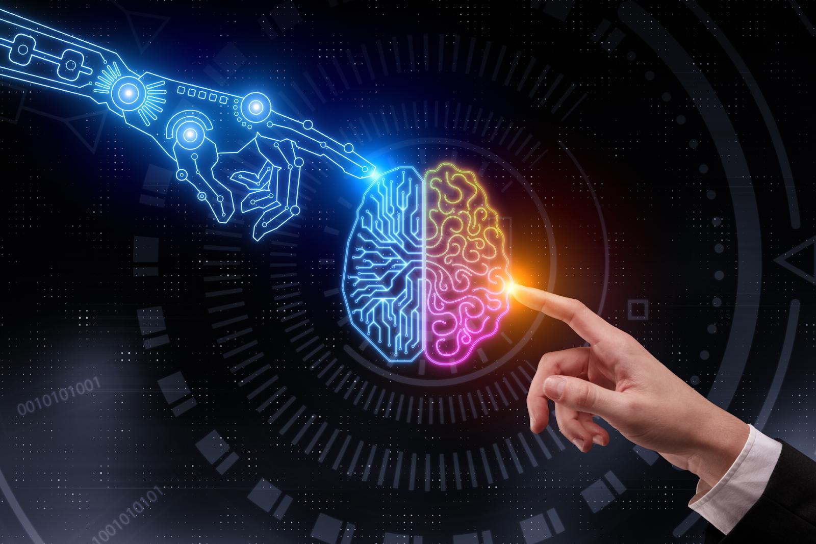 robotic hand and human hand