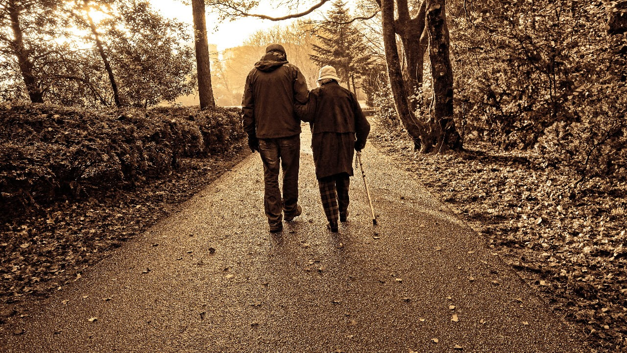 older couple walking side by side sepia fall leaves forest path