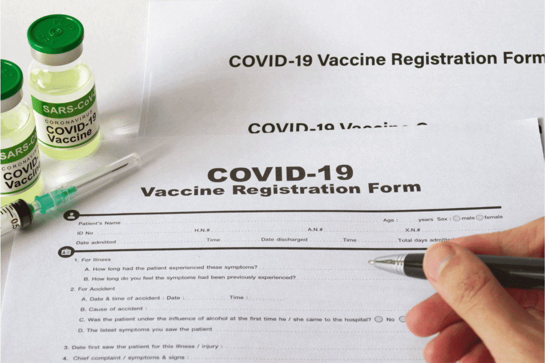 covid-19 registration form pen vials of vaccine distribution signature syringe