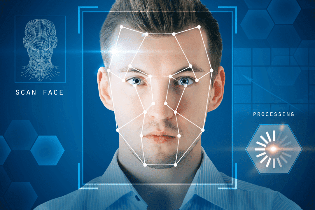 man facial scan online privacy collared shirt visual rendering blue scan face processing text