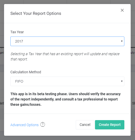 Crypto Tax Report Options