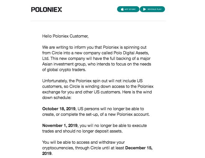 Poloniex shutting down to US