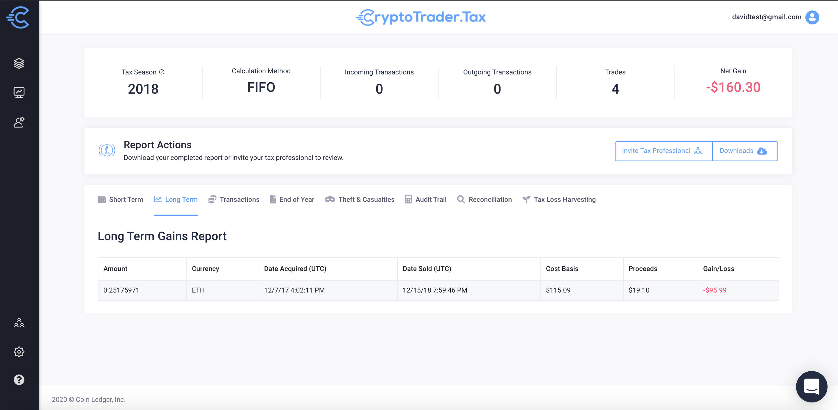 CryptoTrader.Tax Tax Report